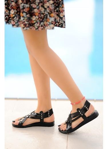 Pembe Potin A205-20 Kadın Sandalet A205-20 Siyah